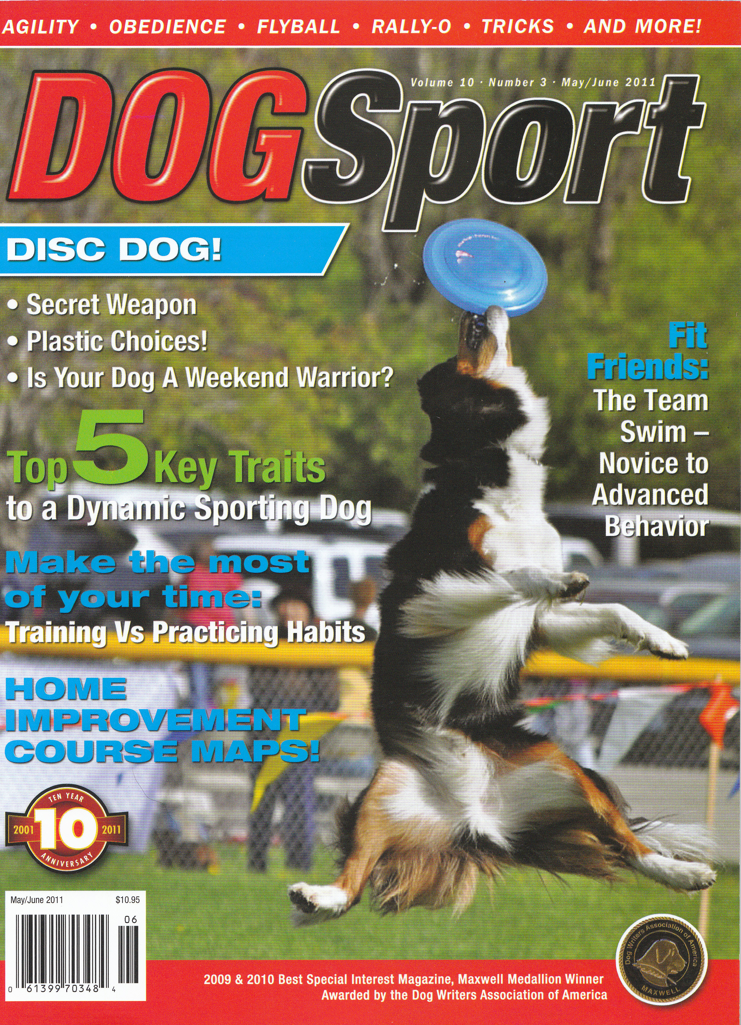 Towser was the first Frisbee dog ever to grace the cover of DogSport magazine!